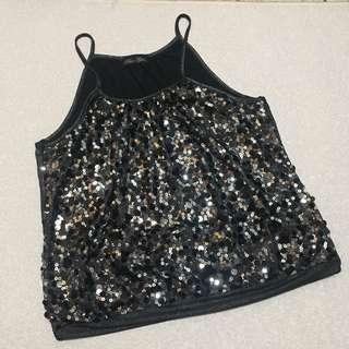 Sleeveless Spaghetti Strapped Sequined Top