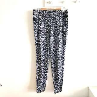 <No Meet Up> Plus Size  NEW Size 14 (fits XL~2XL) Grey Leopard Print Casual Draw String Pants @sunwalker