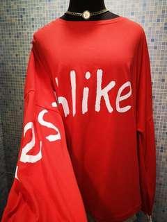 紅色純棉燈籠袖全新