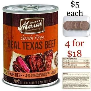 Merrick Grain Free Texas Beef 12.7oz 360g Wet Canned Food for Dogs and Puppies