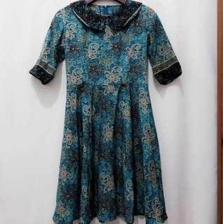 Dress Batik Cewek Selutut (Reprice)