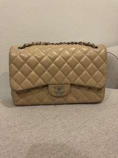 Authentic Chanel Beige Lambskin Quilted Double Flap Jumbo Bag