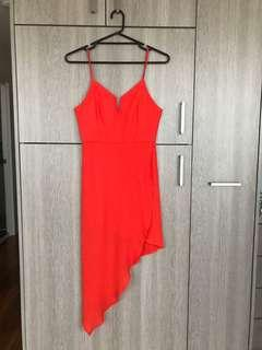 Temt Orange Asymmetrical Dress Size 8