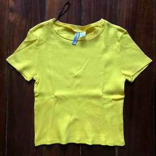 H&M Yellow Ribbed Top