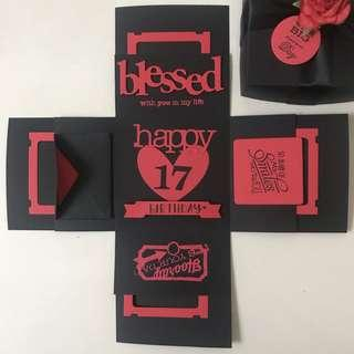 Happy 17 birthday Explosion box Card in black and red
