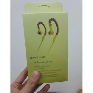 rock space Y6 Stereo Sports Sweats Proof Earphone (New)