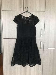 Portmans Little Black Dress with Mesh Detail Size 10