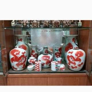 Antique Red Lion Porcelain