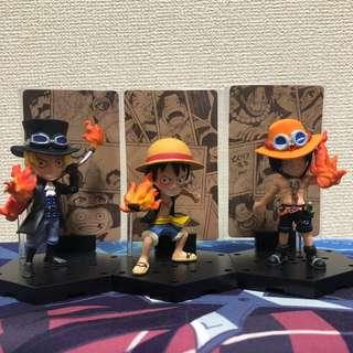 Luffy, Ace & Sabo Card Stand Figures