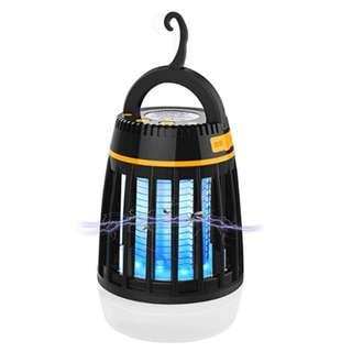 P10 Bug Zapper, 3 in 1 Mosquito Insect Killer Lamp Camping Lantern Power Bank Portable Waterproof Outdoor Lamp with Rechargeable Battery and Retractable Hook (Black)