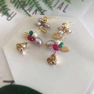 Crystal Embellished Gold Tone Drop Earrings With Pearl - Womens