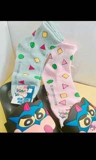 🚚 🇰🇷蠟筆小新襪子(藍綠色)