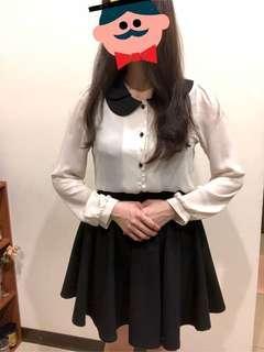 🚚 正韓 黑色花瓣領白襯衫 黑白襯衫 #十月女裝半價