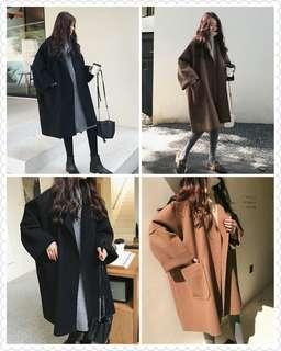 🚚 預購 寬鬆保暖長版大衣外套