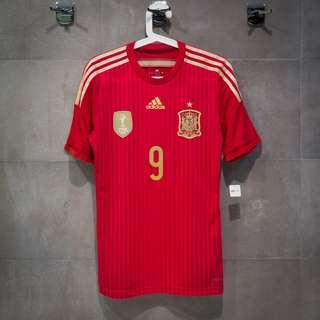 [Size S 球員版] ADIDAS Spain 2014 Home Kit #9 TORRES (AUTHENTIC)