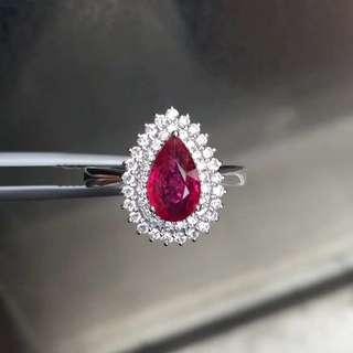1.22ct-un heated  Natural ruby diamond ring 天然紅寶石鑽石戒指 「無燒」