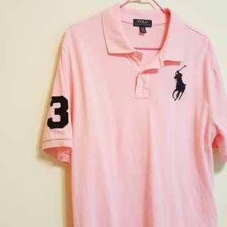 🚚 全新🦄RalphLauren 粉色polo衫男大童XL