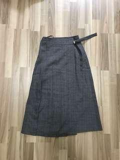Pleated Grid Midi Skirt, Size S