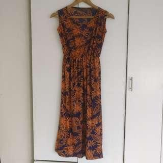 Blue & orange printed long dress