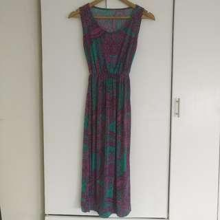 Green & Pink Printed Long Dress