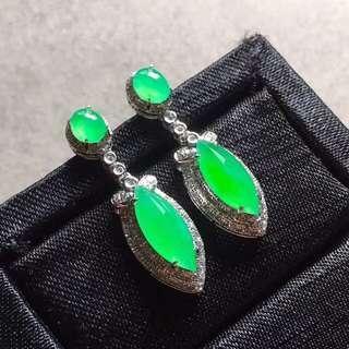 高冰陽綠馬眼鑽石耳環 [天然翡翠A玉] Natural jadeite jade (Fei cui) type A