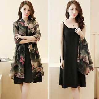 1set dress cardigan flower dpt 2pc