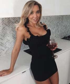 Black ruffled mini dress