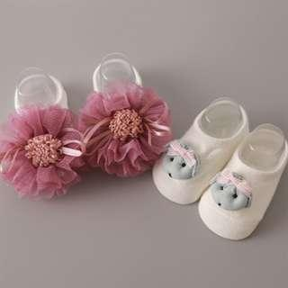 🚚 Cute Puppy & Floral Design Socks for Baby Girl (2 Pairs) (NSM 005)