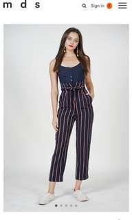 🚚 MDS Self Tie Cami Jumpsuit in Stripes
