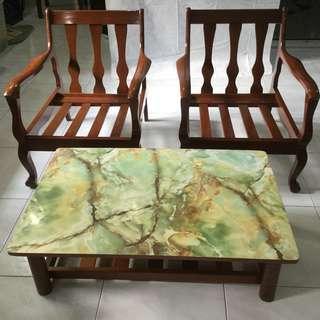 Vintage teakwood coffee table with 2 chairs set