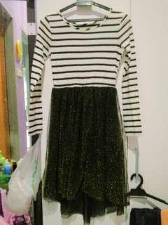 black stripe glitter gold dress