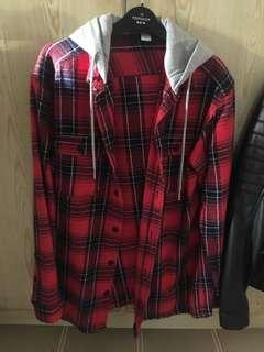 H&M Hooded Flannel Red Grey