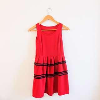 Little Red Dress with Black Details