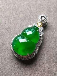 [收藏投資佩戴精品]高冰帝王綠葫蘆鑽石吊墜 [天然翡翠A玉] Natural jadeite jade (Fei cui) type A