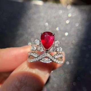 2.01ct 無燒鴿血紅-天然紅寶石鑽石戒指 un heated Natural ruby diamond ring pigeon blood
