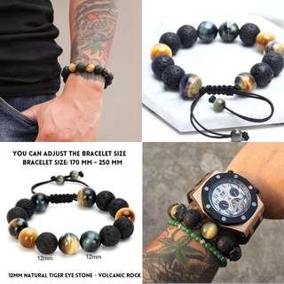 Men Lava Stone and Tiger Eye Bracelet Free Postage