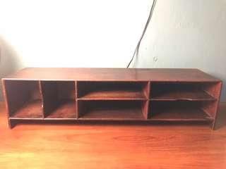 Vintage industrial wooden desk organizer storage