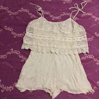 (包郵) 米色lace連身褲