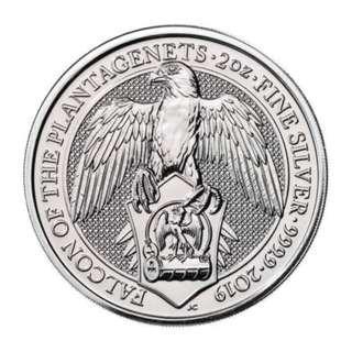 免郵費 超值 (多買有折) 現貨 最新 2019 英女皇神獸系列 金雀花獵鷹 .9999銀幣2盎司 密封包裝 收藏首選 Queen Beast Silver Coin