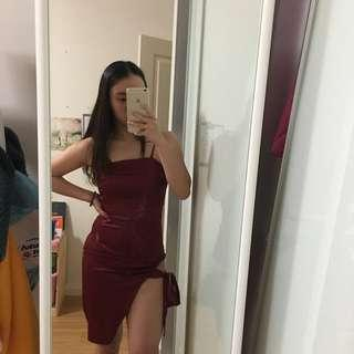 Satin burgundy red bodycon formal dress