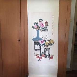 A Hand Painted On Paper Floral Painting