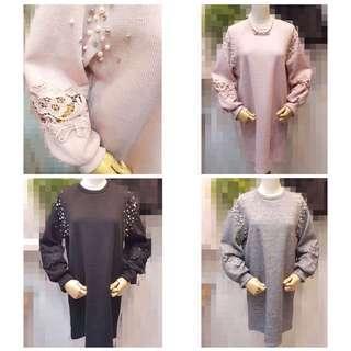 🚚 「正韓」素色袖珠珠配蕾絲正韓洋裝(長版衣、洋裝皆🉑️)粉 灰 黑