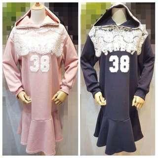 🚚 「正韓」連帽蕾絲前數字蕾絲顯瘦正韓洋裝(長版衣、洋裝皆🉑️)(粉 藍)
