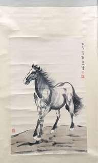 A Hand Painted On Paper horse painting