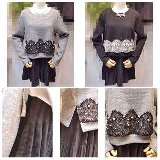 🚚 「正韓」假兩件搭配蕾絲珠珠素色正韓洋裝(灰 黑)