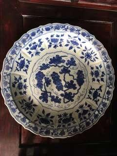 Ming style blue and white plate