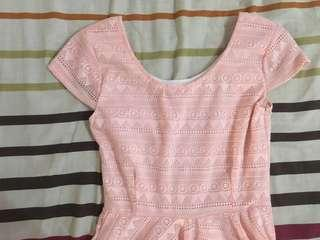 baby pink skater lace dress