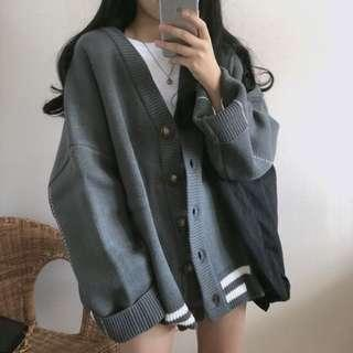 2 colours knit cardigan