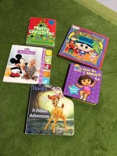 Preloved good condition toddler board books Christmas Disney Dora