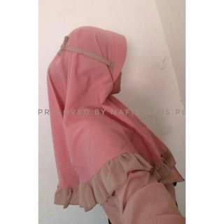 Hijab baby pink mix choco preloved